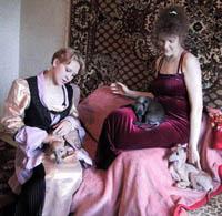 девушки с левретками - прислала Светлана
